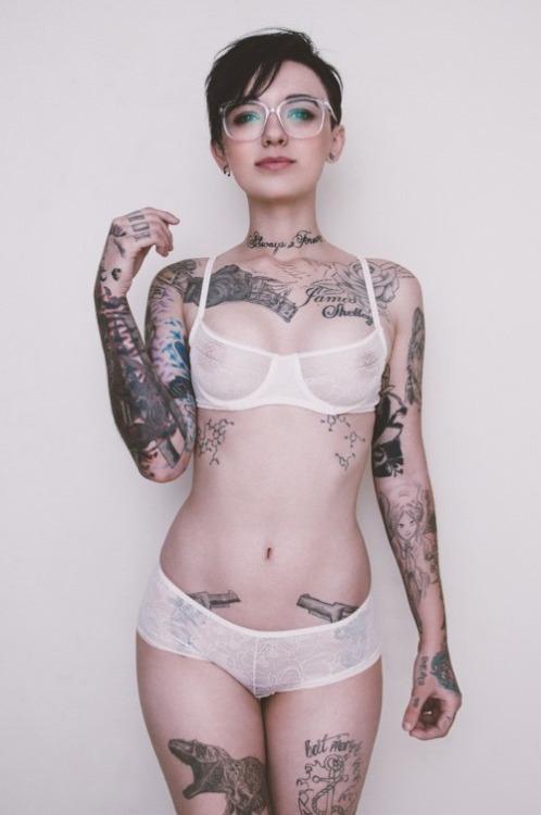 tattooed girl in underwear