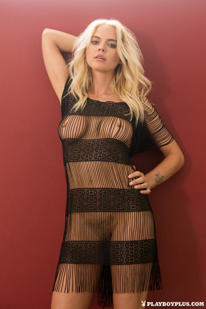 babe in mesh see though dress