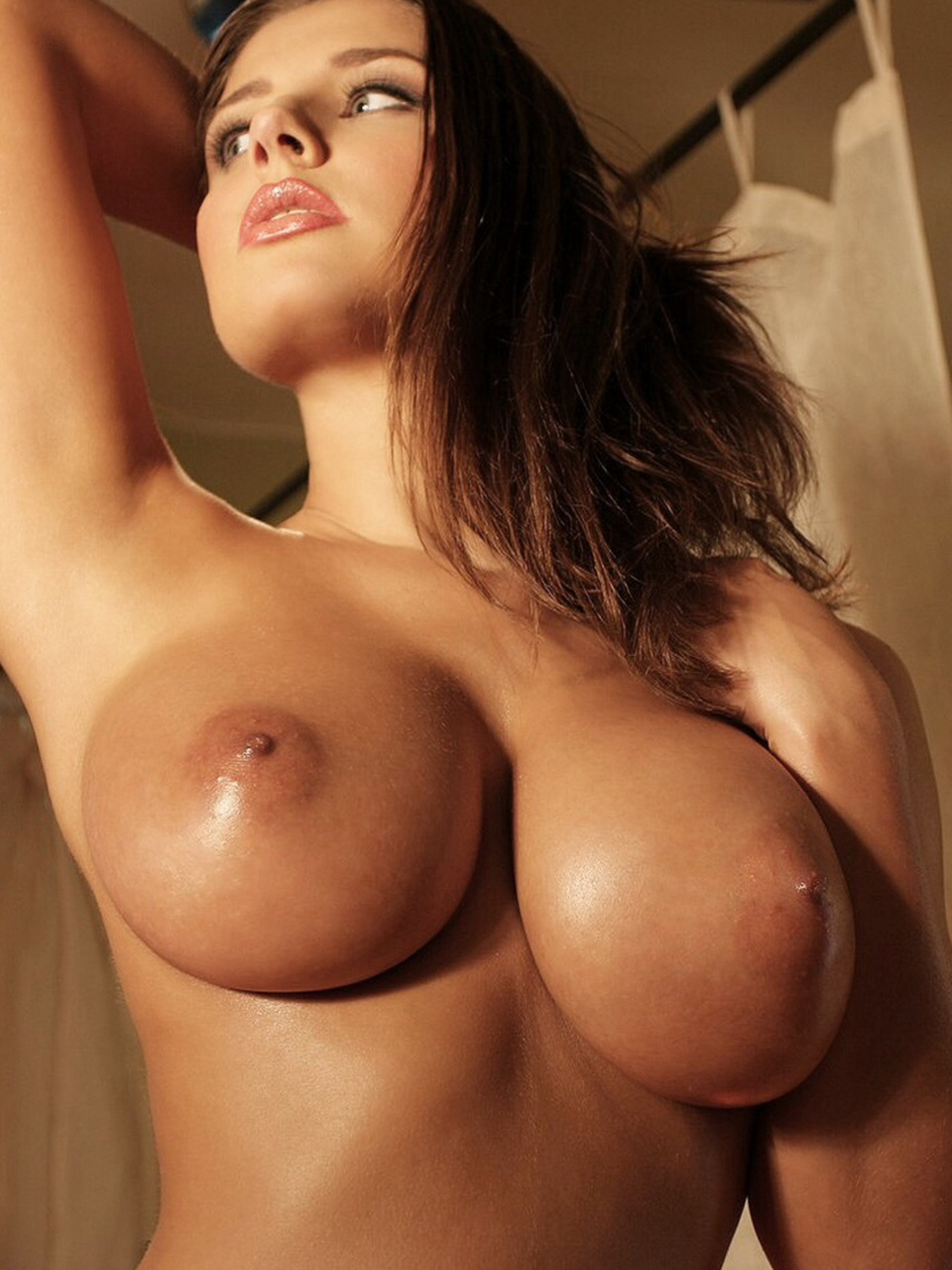 Round and big tits for