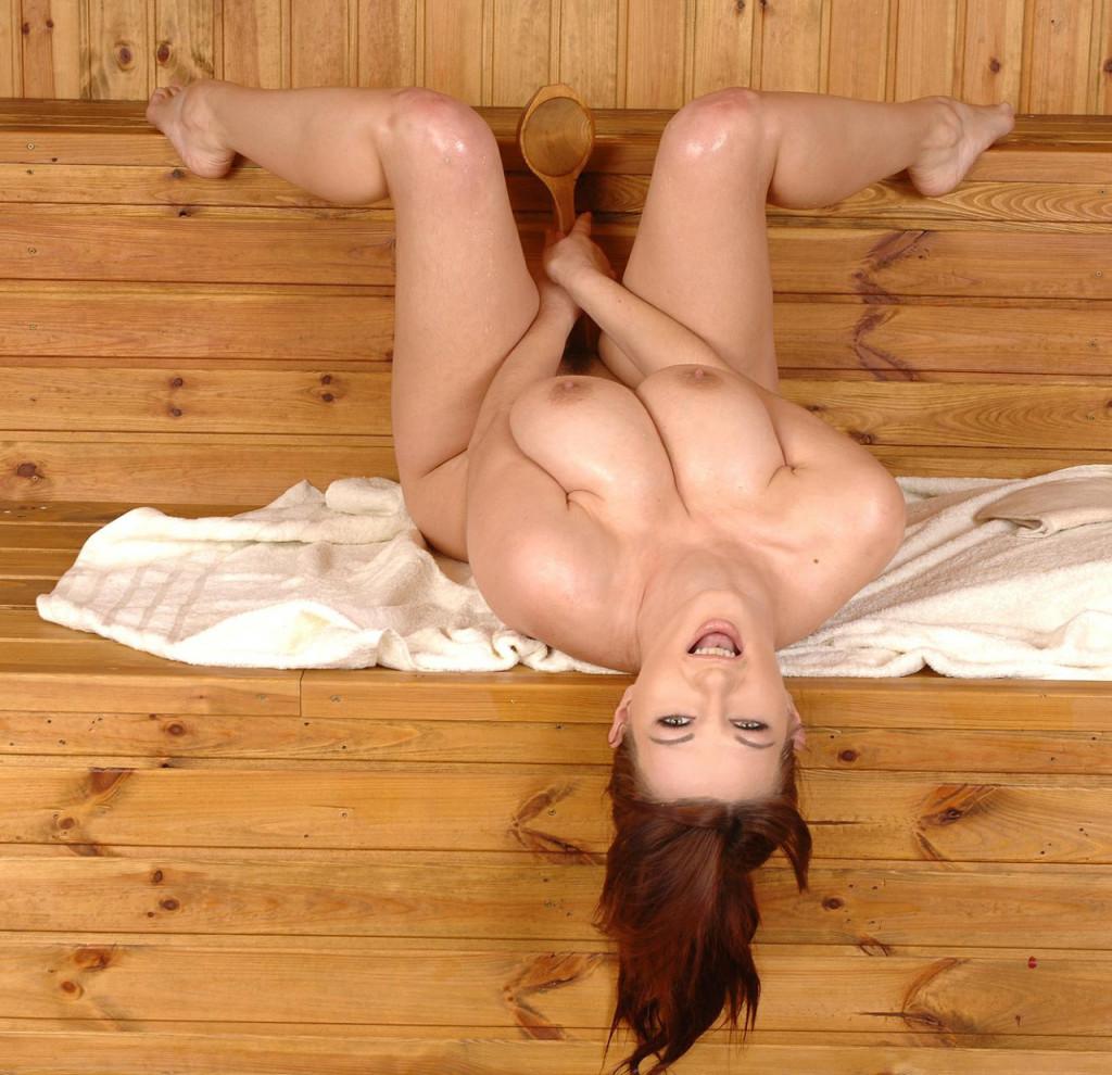 busty nude girl in sauna