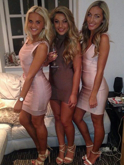 3 girls in tight dresses