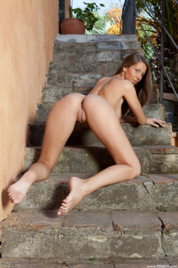 bent over tall babe naked outside