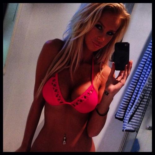 blonde pink bra selfie