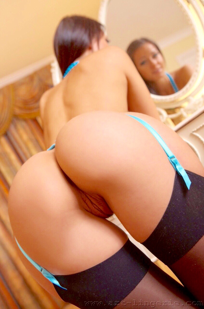Skinny bent ass girl model over