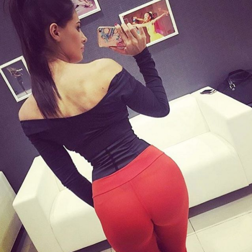 red see through yoga pants ass selfie