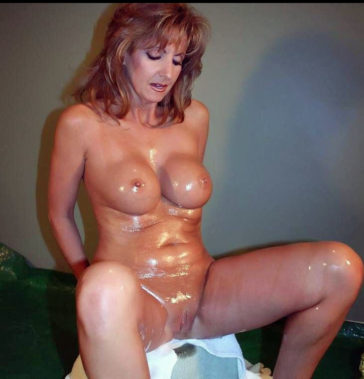 fake tit oiled milf naked